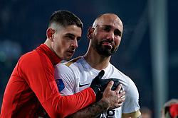 Kristoffer Peterson #19 of FC Utrecht, Sean Klaiber #17 of FC Utrecht reacts after the semi final KNVB Cup between FC Utrecht and Ajax Amsterdam at Stadion Nieuw Galgenwaard on March 04, 2020 in Amsterdam, Netherlands