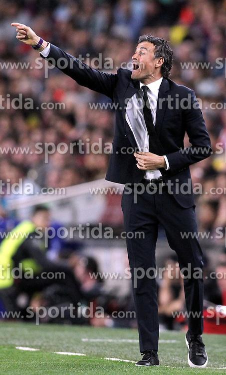 06.05.2015, Camp Nou, Barcelona, ESP, UEFA CL, FC Barcelona vs FC Bayern Muenchen, Halbfinale, Hinspiel, im Bild Trainer Luis Enrique (FC Barcelona) // during the UEFA Champions League semi finals 1st Leg match between FC Barcelona and FC Bayern Munich at the Camp Nou in Barcelona, Spain on 2015/05/06. EXPA Pictures &copy; 2015, PhotoCredit: EXPA/ Eibner-Pressefoto/ Schueler<br /> <br /> *****ATTENTION - OUT of GER*****