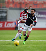 Dundee&rsquo;s Faissal El Bakhtaoui goes past Hamilton&rsquo;s Giannis Skondras - Hamilton Academical v Dundee in the Ladbrokes Scottish Premiership at the SuperSeal Stadium, Hamilton, Photo: David Young<br /> <br />  - &copy; David Young - www.davidyoungphoto.co.uk - email: davidyoungphoto@gmail.com