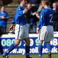 Ayr Utd v St Johnstone...24.04.04  <br />Chris Hay celebrates his goal with Mark Baxter<br /><br />Picture by Graeme Hart.<br />Copyright Perthshire Picture Agency<br />Tel: 01738 623350  Mobile: 07990 594431