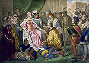 Christopher Columbus kneeling in front of Queen Isabella I. lithograph, color. [1840's]