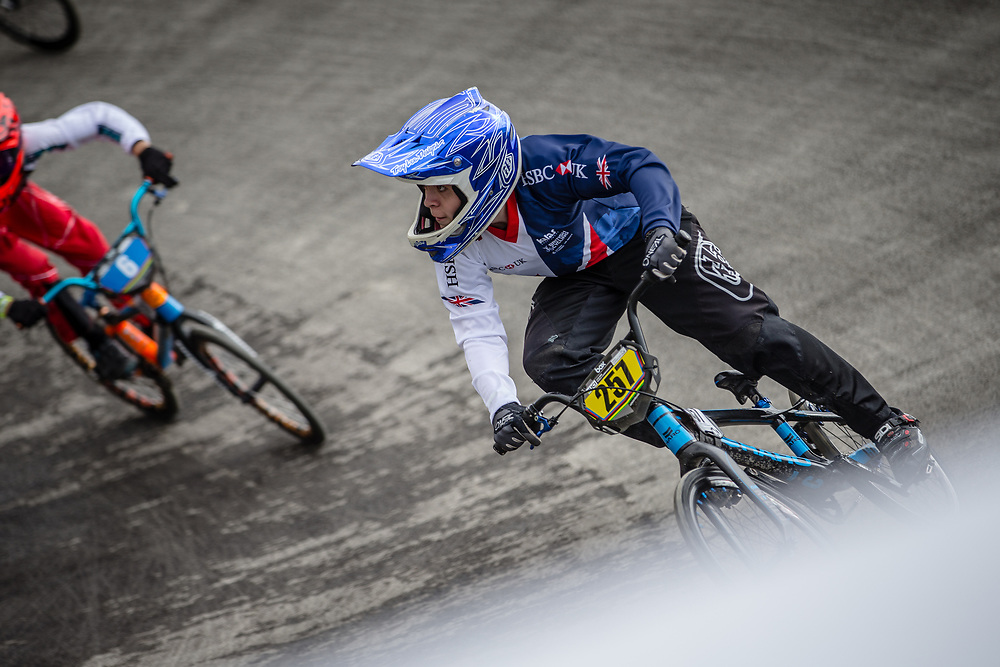 #257 during practice at the 2018 UCI BMX World Championships in Baku, Azerbaijan.