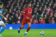 Liverpool defender Joe Gomez (12) in action during the Champions League match between Liverpool and Napoli at Anfield, Liverpool, England on 27 November 2019.