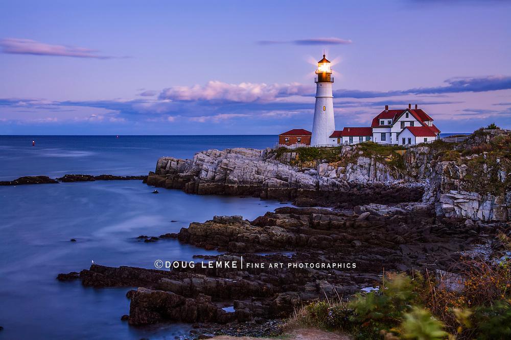 The Benevolent Sentinel, The Portland Head Light After Sunset, Portland Maine, USA