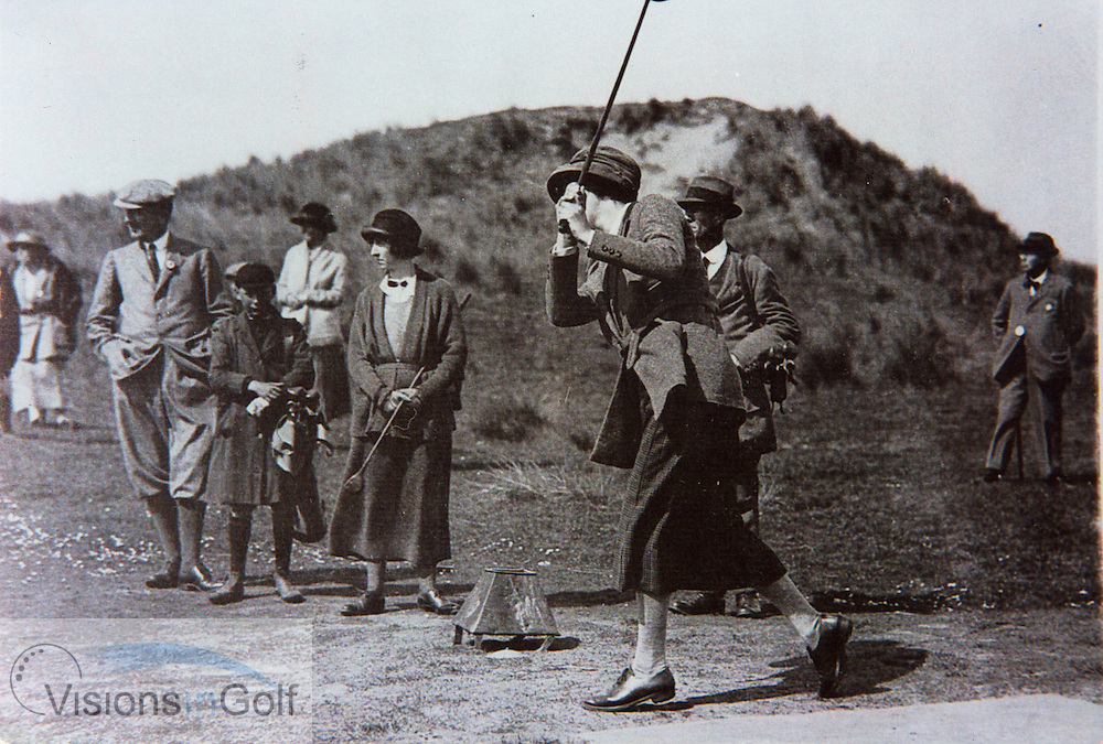 Joyce Wethered with boy caddie c. 1925<br /> Picture Credit: &copy;Visions In Golf / Michael Hobbs