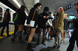 Participants take part in the No Pants Subway Ride in Vancouver, Canada, Jan. 13, 2013. Hundreds of people bared their legs during the 4th annual No Pants Subway Ride on Sunday in Vancouver, Canada, January 13, 2013. Photo by Imago / i-Images...UK ONLY