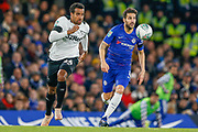 Derby County midfielder Tom Huddlestone (44) chases to beat Chelsea midfielder Cesc Fabregas (4) to the ball during the EFL Cup 4th round match between Chelsea and Derby County at Stamford Bridge, London, England on 31 October 2018.