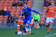 Zach Clough runs with the ball during the EFL Sky Bet League 1 match between Blackpool and Rochdale at Bloomfield Road, Blackpool, England on 6 October 2018.