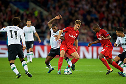 MOSCOW, RUSSIA - Tuesday, September 26, 2017: Liverpool's Georginio Wijnaldumand FC Spartak Moscow's Mario Pašalić during the UEFA Champions League Group E match between Spartak Moscow and Liverpool at the Otkrytie Arena. (Pic by David Rawcliffe/Propaganda)
