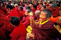 Inde - Province du Jammu Cachemire -  Ladakh - Kalashakra, initiation bouddhiste - Moine bouddhiste en prière // India. Province of  Jammu Cachemire. Ladakh . Kalashakra, bouddhist initiation. Bouddhist monk praying.
