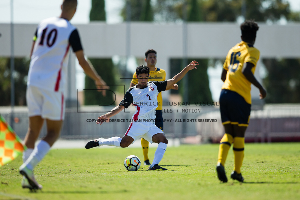 01 October 2017:  The San Diego State men' soccer team continues into conference play  hosting Cal. SDSU lost 1-0 at the Aztec Sports Deck Sunday afternoon.  <br /> www.sdsuaztecphotos.com