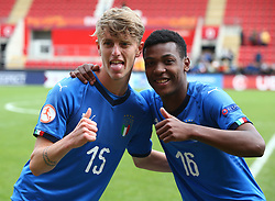 May 17, 2018 - United Kingdom - L-R Nicolo Rovella of Italy Under 17  and Jean Freddi Pascal Greco of Italy Under 17  celebrates they win.After the UEFA Under-17 Championship Semi-Final match between Italy U17s against Belgium U17s at New York Stadium, Rotherham United FC, England on 17 May 2018. (Credit Image: © Kieran Galvin/NurPhoto via ZUMA Press)
