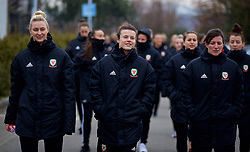 BOLOGNA, ITALY - Tuesday, January 22, 2019: Wales' L-R Rhiannon Roberts, Hayley Ladd and Helen Ward during a pre-match walk at the team hotel in Bologna ahead of the International Friendly game against Italy. (Pic by David Rawcliffe/Propaganda)