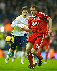 LIVERPOOL, ENGLAND - Wednesday, January 20, 2010: Liverpool's Jamie Carragher in action against Tottenham Hotspur during the Premiership match at Anfield. (Photo by: David Rawcliffe/Propaganda)