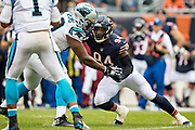 CHICAGO, IL - OCTOBER 22:  Leonard Floyd #94 of the Chicago Bears rushes Cam Newton #1 of the Carolina Panthers at Soldier Field on October 22, 2017 in Chicago, Illinois.  The Bears defeated the Panthers 17-3.  (Photo by Wesley Hitt/Getty Images) *** Local Caption *** Leonard Floyd; Cam Newton