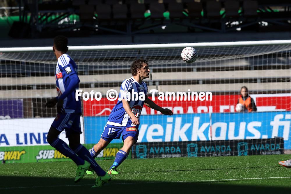 2.4.2016, Sonera Stadion, Helsinki.<br /> Veikkausliiga 2016.<br /> Helsingin Jalkapalloklubi - IFK Mariehamn.<br /> Ville Jalasto - HJK