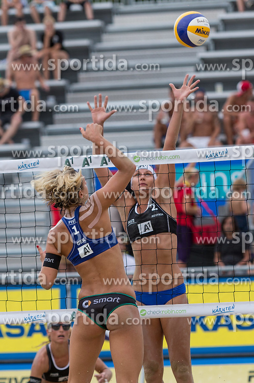30.07.2014, Strandbad, Klagenfurt, AUT, A1 Beachvolleyball Grand Slam 2014, im Bild Laura LUDWIG 1 GER, Barbara Hansel 1 AUT /Bianca Zass 2 AUT // during the A1 Beachvolleyball Grand Slam at the Strandbad Klagenfurt, Austria on 2014/07/30. EXPA Pictures © 2014, EXPA Pictures © 2014, PhotoCredit: EXPA/ Mag. Gert Steinthaler