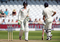 England's Keaton Jennings walks back after being bowled out by South Africa's Vernon Philander during day four of the Second Investec Test match at Trent Bridge, Nottingham.