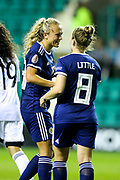 Kim Little (#8) of Scotland celebrates with Claire Emslie (#18) of Scotland during the Women's Euro Qualifiers match between Scotland Women and Cyprus Women at Easter Road, Edinburgh, Scotland on 30 August 2019.