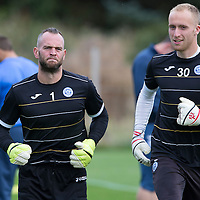 St Johnstone FC Training...11.09.15<br /> Keeper Alan Mannus pictured in training alongside Mark Hurst this morning ahead of tomorrow's game against Hamilton Accies<br /> Picture by Graeme Hart.<br /> Copyright Perthshire Picture Agency<br /> Tel: 01738 623350  Mobile: 07990 594431