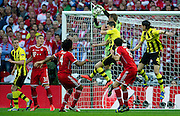 (C) Robert Lewandowski of Dortmund fights for the ball with goalkeeper Manuel Neuer of Monachium during the UEFA Champions League Final football match between Borussia Dortmund and Bayern Munich at Wembley Stadium in London on May 25, 2013...England, London, May 25, 2013..Picture also available in RAW (NEF) or TIFF format on special request...For editorial use only. Any commercial or promotional use requires permission...Photo by © Adam Nurkiewicz / Mediasport