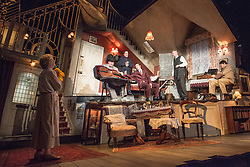 © Licensed to London News Pictures. 08/07/2013. The Ladykillers by Graham Linehan at The Vaudeville Theatre, London. Based on the Ealing Comedy screenplay, this stage production has been adapted by Graham Linehan. Picture shows: Angela Thorne (Mrs Wilberforce), Chris McCalphy (One Round), Con O'Neill (Louis), Ralf Little (Harry), John Gordon Sinclair (Prof Marcus) & Simon Day (Major Courtney. Photo credit: Tony Nandi/LNP