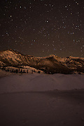 Twin Lakes Area with Snow at Night