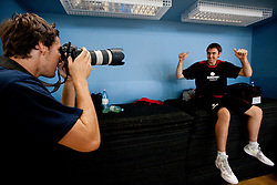 Goran Dragic photographing Erazem Lorbek during media day at training camp of Slovenian National Basketball team for Eurobasket Lithuania 2011, on July 19, 2011, in Arena Ljudski vrt, Ptuj, Slovenia.  (Photo by Vid Ponikvar / Sportida)