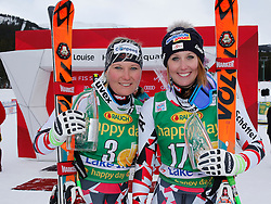 06.12.2015, East Summit Course, Lake Luise, CAN, FIS Weltcup Ski Alpin, Lake Luise, Damen, SuperG, im Bild v.l. Tamara Tippler (AUT, 2. Platz), Cornelia Huetter (AUT, 3. Platz) // 2nd placed Tamara Tippler of Austria, 3rd placed Cornelia Huetter of Austria during the race of ladies Super G of the Lake Luise FIS Ski Alpine World Cup at the East Summit Course in Lake Luise, Canada on 2015/12/06. EXPA Pictures © 2015, PhotoCredit: EXPA/ SM<br /> <br /> *****ATTENTION - OUT of GER*****