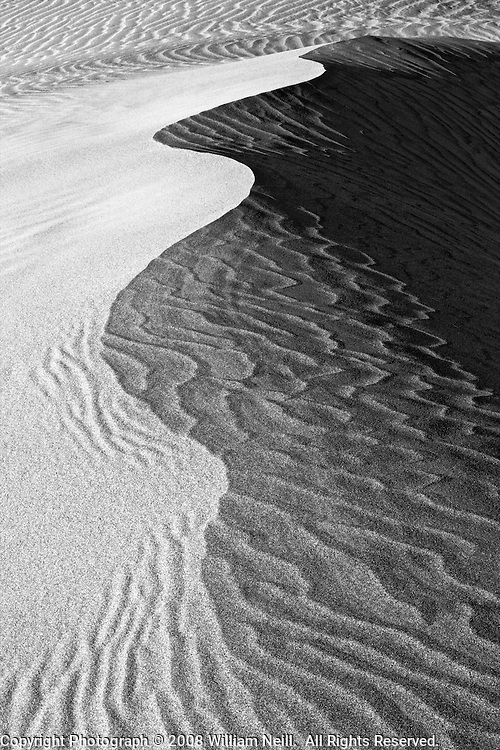 Dune pattern at sunset, Mesquite Flats, Death Valley National Park, California