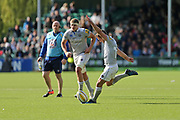 Bath George Ford  Fly half  (10) converts a penalty kick 25-19 second half during the Aviva Premiership match between Worcester Warriors and Bath Rugby at Sixways Stadium, Worcester, United Kingdom on 15 April 2017. Photo by Gary Learmonth.