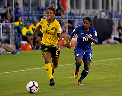 October 12, 2018 - Edinburgh, Scotland, United Kingdom - Edinburg, NC - OCTOBER 11: 2018.L-R Christine Chang of Jamaica and Rachel Pelaez of Cuba during CONCACAF Women's Championship Group B match between Cuba against Jamaica at H-E-BPark Stadium, Edinburg,  on October 11, 2018  (Credit Image: © Action Foto Sport/NurPhoto via ZUMA Press)