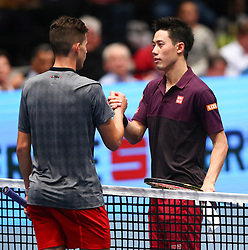 26.10.2018, Wiener Stadthalle, Wien, AUT, ATP Tour, Erste Bank Open, im Bild Dominic Thiem (AUT) and Kei Nishikori (JPN) // during the Erste Bank Open of ATP Tour at the Wiener Stadthalle in Wien, Austria on 2018/10/26. EXPA Pictures © 2018, PhotoCredit: EXPA/ Thomas Haumer