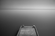 A jetty at the Lauwersmeer at night, moonlit // Een steiger aan het Lauwersmeer in maanlicht.