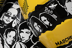 "© Licensed to London News Pictures . 26/07/2018. Manchester , UK . ""Bee Here Now"" designed by Joseph Venning . Hacienda Madchester Bee in the City sculpture outside the site of the former Hacienda Nightclub , featuring faces of Manchester's music scene from down the decades - including the Bee Gees - in Manchester City Centre . Over 100 bee sculptures , decorated and painted by different artists , have been placed across Manchester City Centre . The worker bee is Manchester's symbol , reflecting the City's heritage as the home of the industrial revolution . Photo credit : Joel Goodman/LNP"