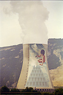 Jean-Marie Pierret mural on the EDF Cruas Meysse French Nuclear Power Station, next to tha Rhone river.1996