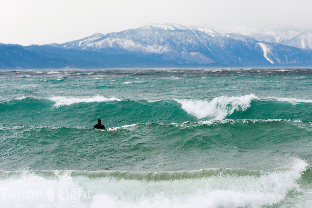Surfing on Lake Tahoe in windstorm
