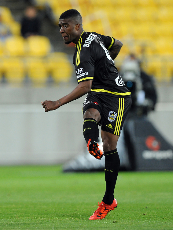 Phoenix's Rolieny Bonevacia shoots a goal against Adelaide United in the A-League football match at Westpac Stadium, Wellington, New Zealand, Friday, November 13, 2015. Credit:SNPA / Ross Setford