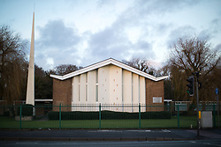 "© Licensed to London News Pictures . 19/01/2018 . Manchester , UK . GV of The Church of Jesus Christ of Latter-day Saints on the A560 Altrincham Road in Wythenshawe . A banner hung from railings in front of the church references Salman Abedi's murderous terror attack on the Manchester Arena with the use of a photograph from the scene of the attack , alongside the words "" Are you prepared for possible disaster "" and the logo of the I Love Mcr charity . The banner features an invitation to visit the church "" To see if we can help"" . Photo credit : Joel Goodman/LNP"
