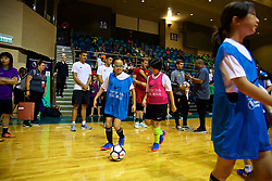 HONG KONG, CHINA - Tuesday, July 18, 2017: Children during a Premier League skills kids event at the Macpherson Stadium ahead of the Premier League Asia Trophy 2017. (Pic by David Rawcliffe/Propaganda)