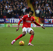 Charlton Athletic striker Ricardo Vaz Te with a cross field ball during the Sky Bet Championship match between Charlton Athletic and Ipswich Town at The Valley, London, England on 28 November 2015. Photo by Matthew Redman.