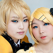 Girls dressed as characters from the song program Vocaloid pose for a photograph at Busan Comic World, a bi-monthly comic convention in Busan, South Korea, May 5, 2012.