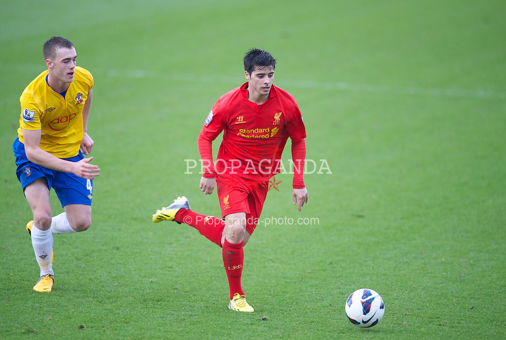 KIRKBY, ENGLAND - Monday, January 14, 2013: Liverpool's Joao Carlos Teixeira in action against Southampton during the Under 21 FA Premier League match at the Kirkby Academy. (Pic by David Rawcliffe/Propaganda)