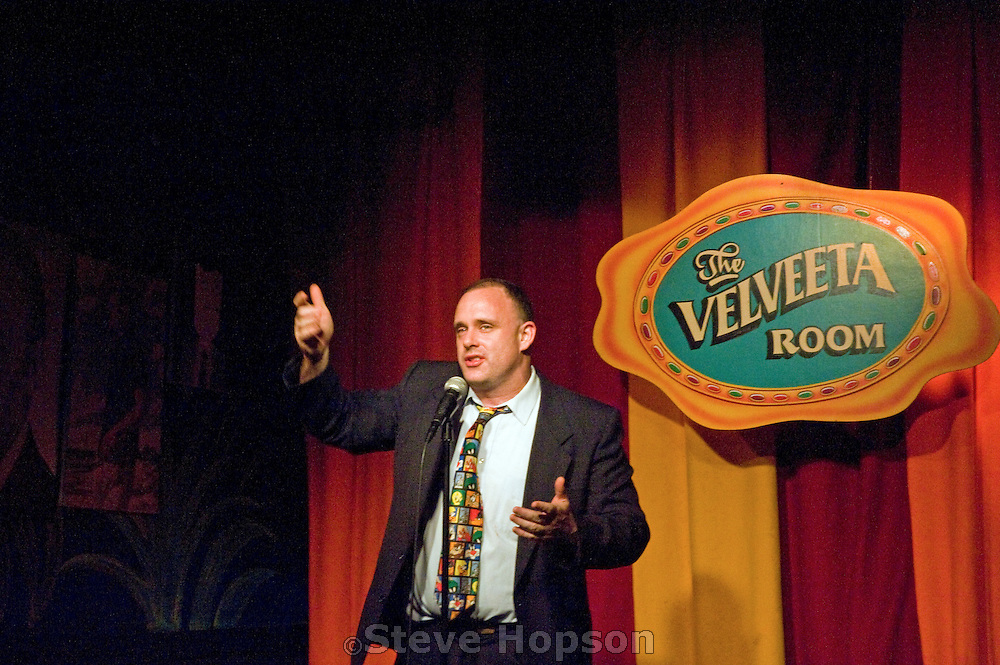 Comedian Matt Kordelski at the Velveeta Room in Austin Texas, January 23, 2009. The Velveeta Room is on Sixth street, the heart of Austin's entertainment district.
