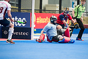 Hampstead & Westminster's David Kettle can't stop Borja Llorens' penalty corner as Wimbledon get their second goal. Wimbledon v Hampstead & Westminster - Semi-Final - Men's Hockey League Finals, Lee Valley Hockey & Tennis Centre, London, UK on 22 April 2017. Photo: Simon Parker