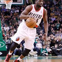 09 March 2012: Portland Trail Blazers point guard Raymond Felton (5) is seen during the Boston Celtics 104-86 victory over the Portland Trail Blazers at the TD Banknorth Garden, Boston, Massachusetts, USA.