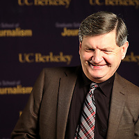 "Reporter James Risen speaks to a television reporter prior to the ""Prosecuting the Press"" event at the UC Berkeley Graduate School of Journalism in Berkeley, California, on Thursday, November 14, 2013. Risen, the New York Times national security reporter is facing jail for refusing to comply with a subpoena to reveal his sources in relation to his book titled State of War: The Secret History of the CIA and the Bush Administration. (AP Photo/Alex Menendez)"