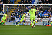 Huddersfield Town midfielder Joe Lolley celebrates scoring the first goal during the Sky Bet Championship match between Birmingham City and Huddersfield Town at St Andrews, Birmingham, England on 5 December 2015. Photo by Alan Franklin.