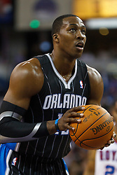 March 9, 2011; Sacramento, CA, USA;  Orlando Magic center Dwight Howard (12) shoots a free throw against the Sacramento Kings during the first quarter at the Power Balance Pavilion. Orlando defeated Sacramento 106-102.