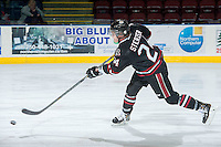 KELOWNA, CANADA -FEBRUARY 5: Aspen Sterzer C #24 of the Red Deer Rebels takes a shot against the Kelowna Rockets on February 5, 2014 at Prospera Place in Kelowna, British Columbia, Canada.   (Photo by Marissa Baecker/Getty Images)  *** Local Caption *** Aspen Sterzer;